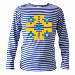 Тельняшка с длинным рукавом Pixel pattern blue and yellow