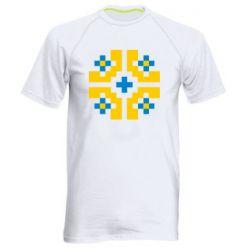 Мужская спортивная футболка Pixel pattern blue and yellow