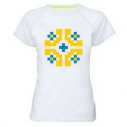Женская спортивная футболка Pixel pattern blue and yellow