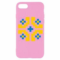 Чехол для iPhone 7 Pixel pattern blue and yellow
