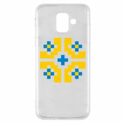 Чехол для Samsung A6 2018 Pixel pattern blue and yellow