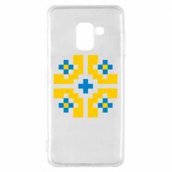 Чехол для Samsung A8 2018 Pixel pattern blue and yellow