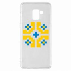 Чехол для Samsung A8+ 2018 Pixel pattern blue and yellow