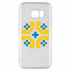 Чехол для Samsung S7 Pixel pattern blue and yellow