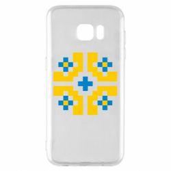 Чехол для Samsung S7 EDGE Pixel pattern blue and yellow