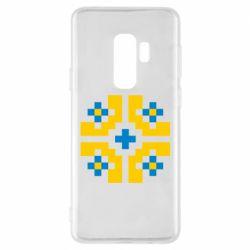 Чехол для Samsung S9+ Pixel pattern blue and yellow