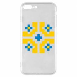 Чехол для iPhone 8 Plus Pixel pattern blue and yellow