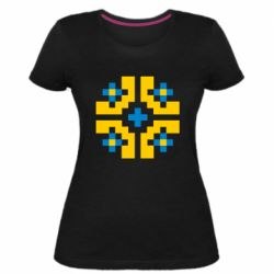 Женская стрейчевая футболка Pixel pattern blue and yellow