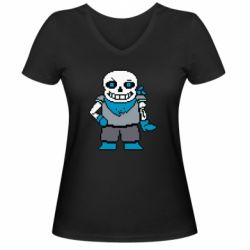 Жіноча футболка з V-подібним вирізом Pixel Sans