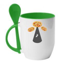 Кружка з керамічною ложкою Pizza UFO