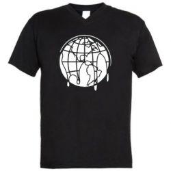 Мужская футболка  с V-образным вырезом Planet contour