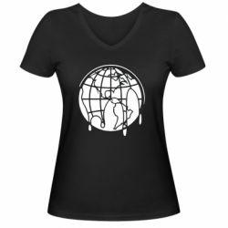 Женская футболка с V-образным вырезом Planet contour