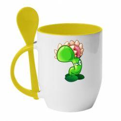 Кружка з керамічною ложкою Plants flower