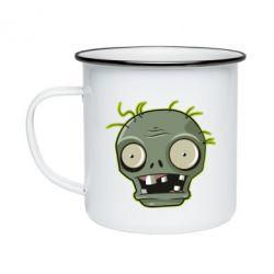 Кружка емальована Plants vs zombie head