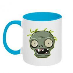 Кружка двоколірна 320ml Plants vs zombie head