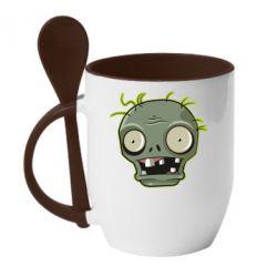 Кружка з керамічною ложкою Plants vs zombie head