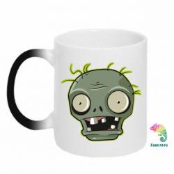 Кружка-хамелеон Plants vs zombie head