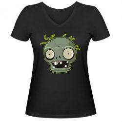 Жіноча футболка з V-подібним вирізом Plants vs zombie head