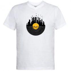 Мужская футболка  с V-образным вырезом Пластинка - FatLine