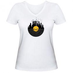 Женская футболка с V-образным вырезом Пластинка - FatLine