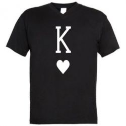 Мужская футболка  с V-образным вырезом Playing Cards King