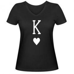 Женская футболка с V-образным вырезом Playing Cards King