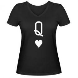 Женская футболка с V-образным вырезом Playing Cards Queen