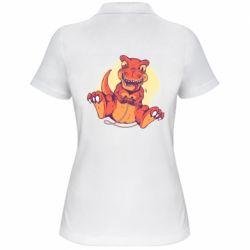 Женская футболка поло Playing dinosaur