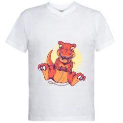 Мужская футболка  с V-образным вырезом Playing dinosaur