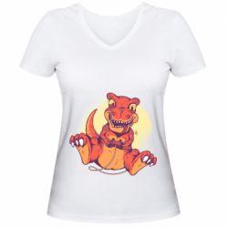 Женская футболка с V-образным вырезом Playing dinosaur