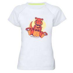 Женская спортивная футболка Playing dinosaur