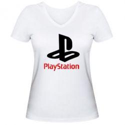 Женская футболка с V-образным вырезом PlayStation - FatLine