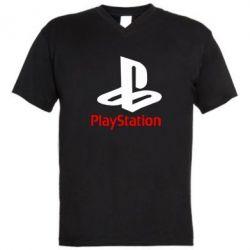 Мужская футболка  с V-образным вырезом PlayStation - FatLine