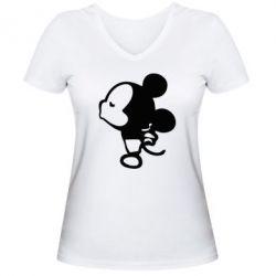 Женская футболка с V-образным вырезом Поцелуй мышек (м)