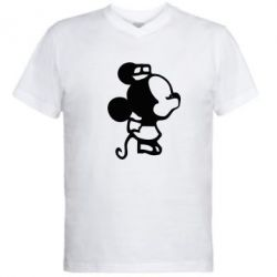 Мужская футболка  с V-образным вырезом Поцелуй мышек (ж)