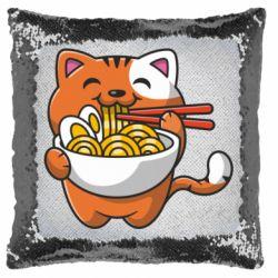 Подушка-хамелеон Cat and Ramen