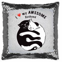 Подушка-хамелеон Cats and love