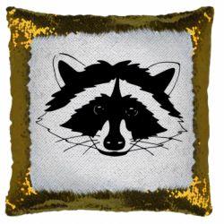 Подушка-хамелеон Cute raccoon face