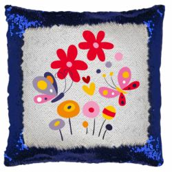 Подушка-хамелеон Flowers and Butterflies
