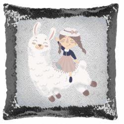 Подушка-хамелеон Girl with a lama