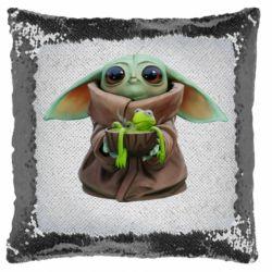 Подушка-хамелеон Grogu and Kermit