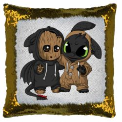 Подушка-хамелеон Groot And Toothless