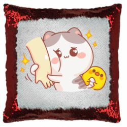 Подушка-хамелеон Кішка тримає руку