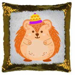 Подушка-хамелеон Little hedgehog in a hat