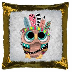 Подушка-хамелеон Little owl with feathers