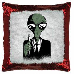 Подушка-хамелеон Люди в черном пародия
