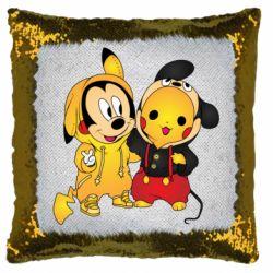 Подушка-хамелеон Mickey and Pikachu