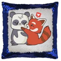 Подушка-хамелеон Panda and fire panda