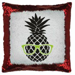 Подушка-хамелеон Pineapple with glasses