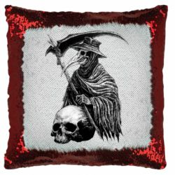 Подушка-хамелеон Plague Doctor graphic arts